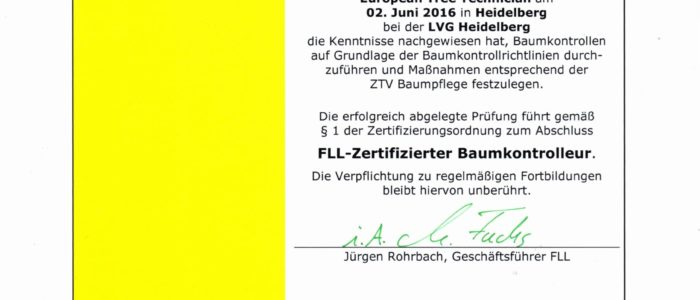 Zertifikat zur Baumkontrolle